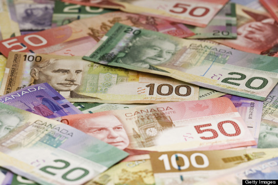 Close-up of assorted Canadian paper currency